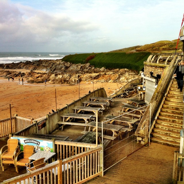"""Fistral Beach Bar Damage"" stock image"