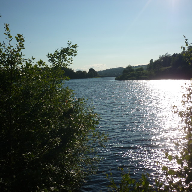"""Sun Shinning at Bottoms Reservoir"" stock image"