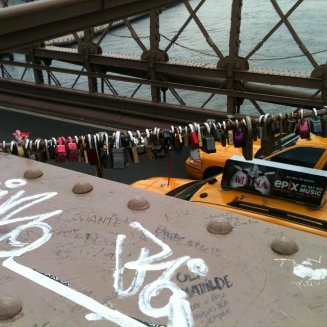 """""""Love locks on Brooklyn Bridge"""" stock image"""