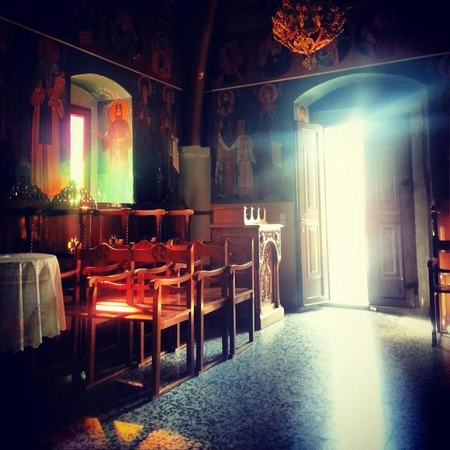 """Light inside the church at Haraki, Rhodes"" stock image"