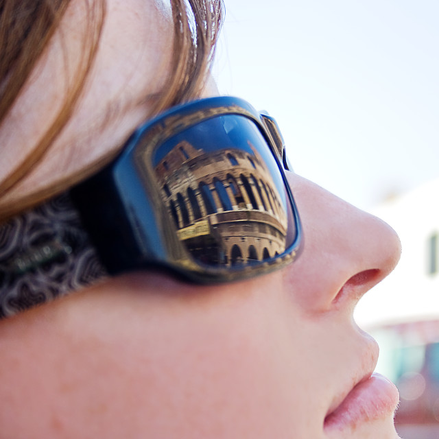 """Reflection of the Colosseum, Rome"" stock image"