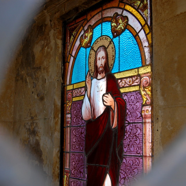 """""""Stained glass window in Recoleta cemetery"""" stock image"""
