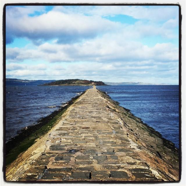 """Pathway to Cramond Island, Scotland."" stock image"