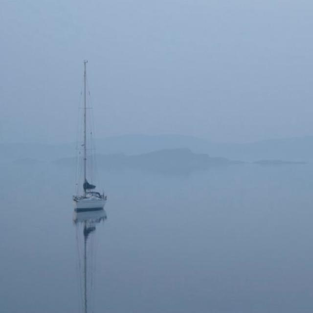 """Misty Early Morning Yacht"" stock image"