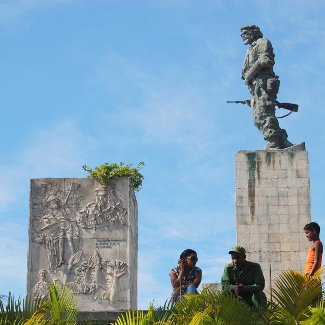 """Family at Che Guevara tomb"" stock image"