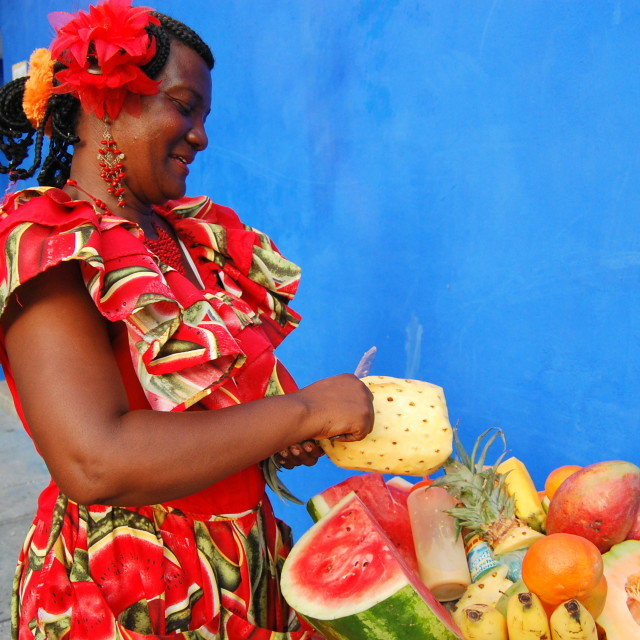 """Fruit seller in Cartagena"" stock image"