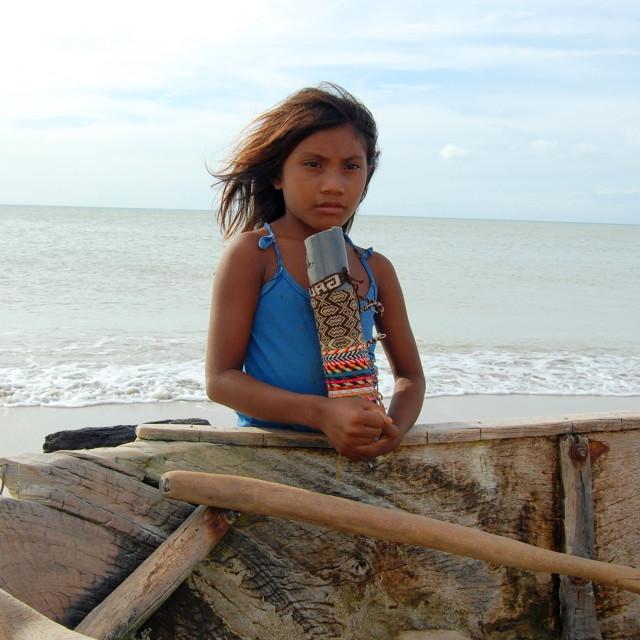 """Young girl on beach"" stock image"