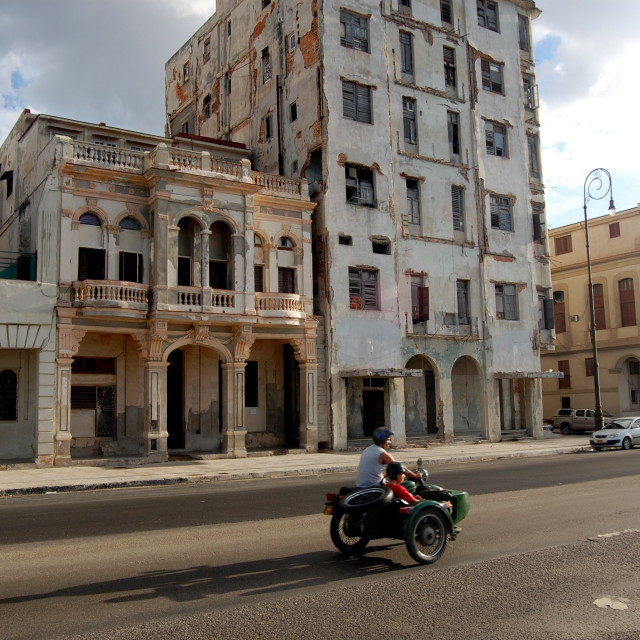"""Motorbike and sidecar in Havana, Cuba"" stock image"
