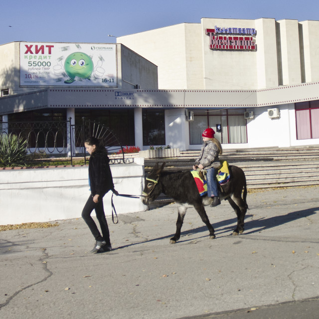 """Donkey transport in Tiraspol, Transnistria"" stock image"