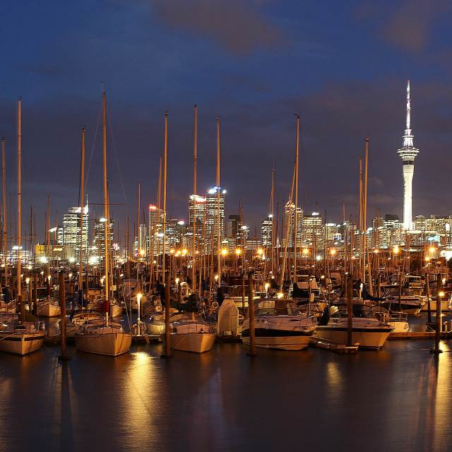 """Auckland city night view"" stock image"