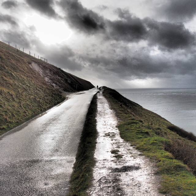 """Road leading to the Needles, Isle of Wight"" stock image"