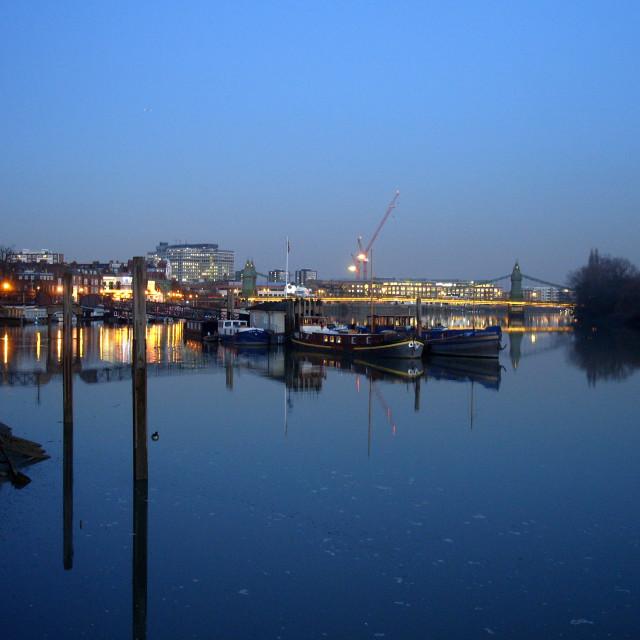 """Dusk near Hammersmith Bridge"" stock image"