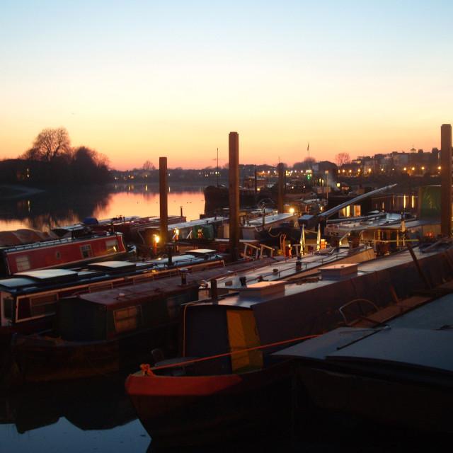 """""""Narrow boats near Hammersmith Bridge"""" stock image"""