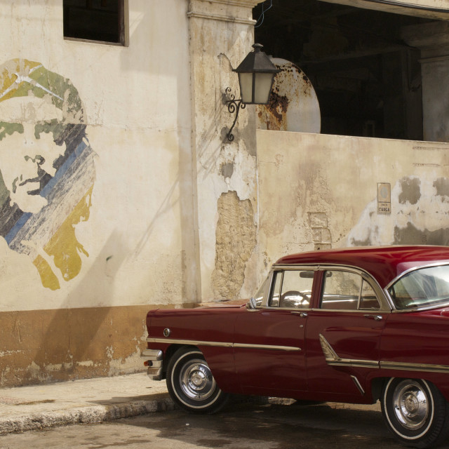"""Che and car in Cuba"" stock image"