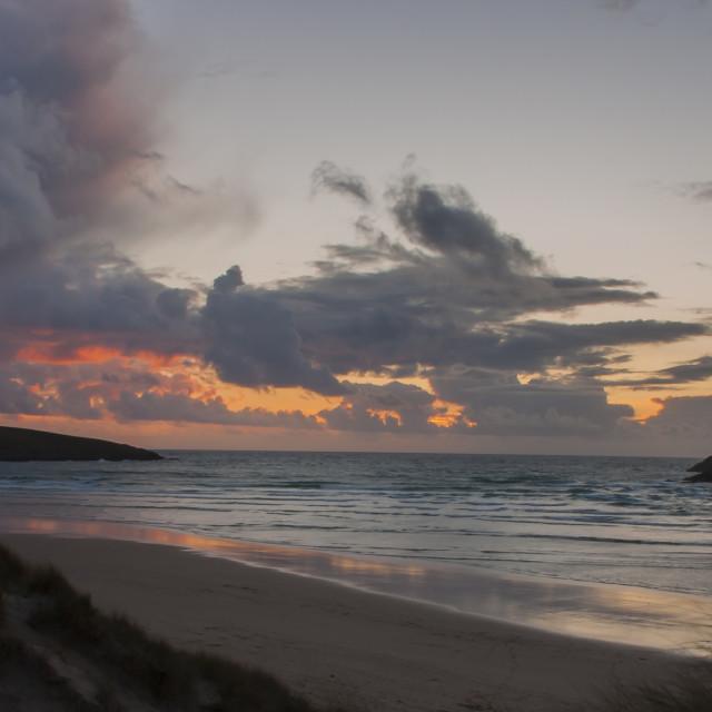 """Crantock Stormy Sunset"" stock image"