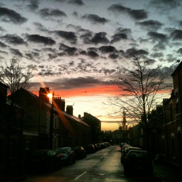 """Sunrise in Cardiff"" stock image"