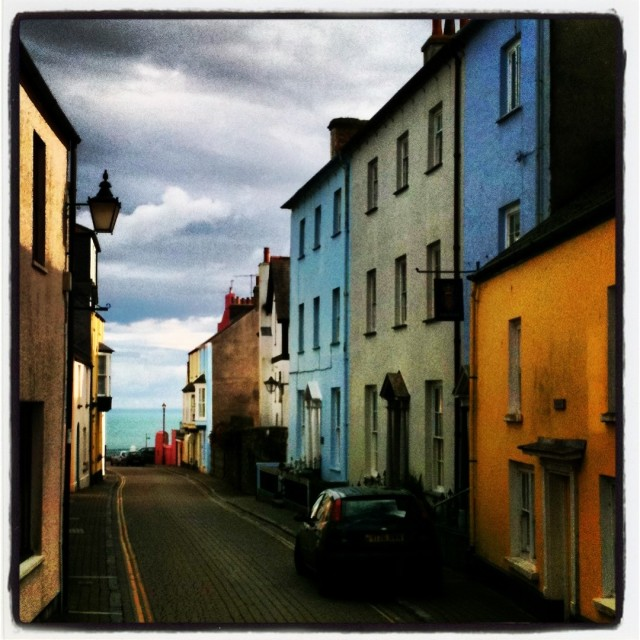 """The bright streets of Tenby"" stock image"