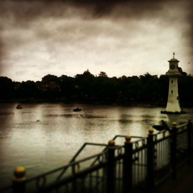 """Lighthouse at Roath Park"" stock image"