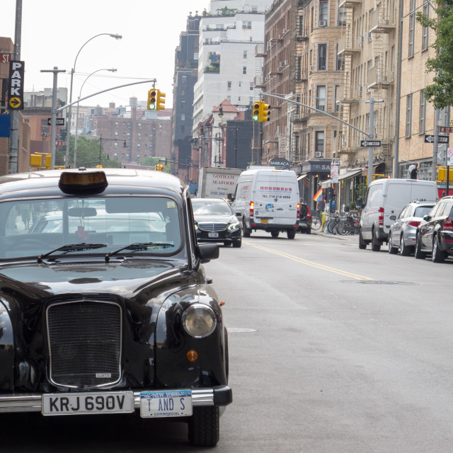 """""""English taxi in New York"""" stock image"""