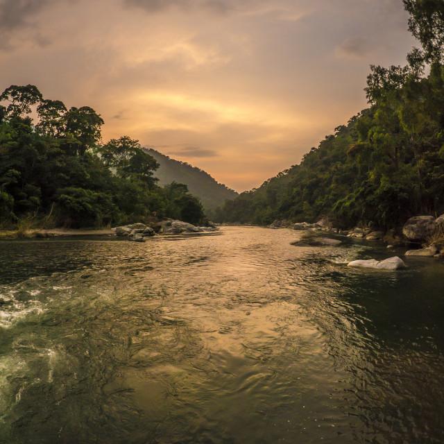 """Sunset over Pico Bonito National Park, La Ceiba, Honduras, Central America"" stock image"