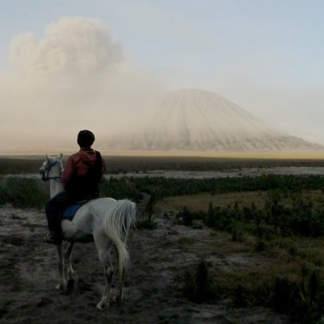 """Volcano cowboy"" stock image"