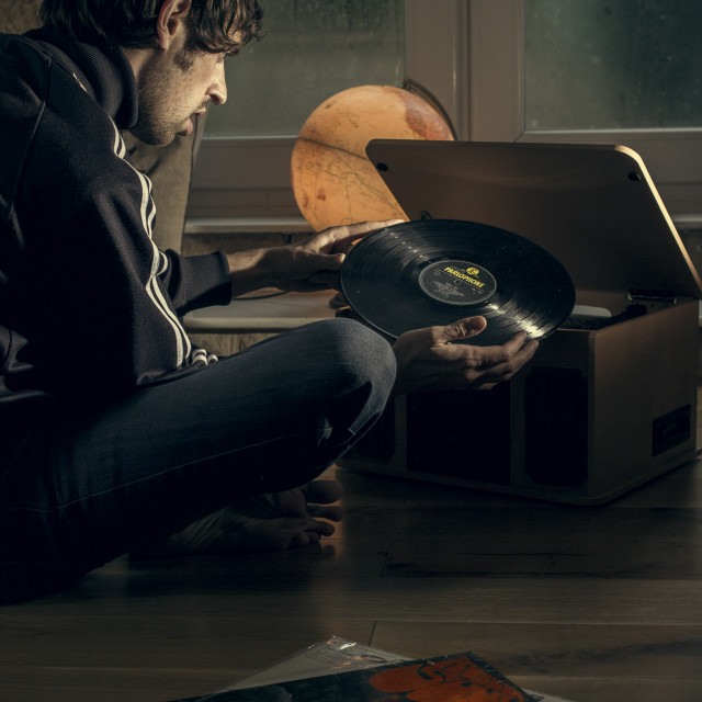 """Records on a rainy day."" stock image"