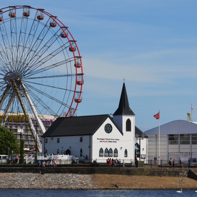 """Norwegian Church & Big Wheel"" stock image"