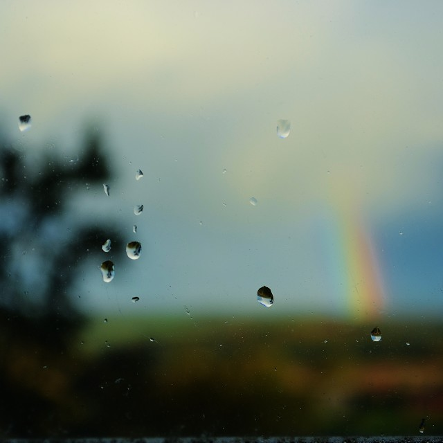 """Rainbow and Raindrops"" stock image"