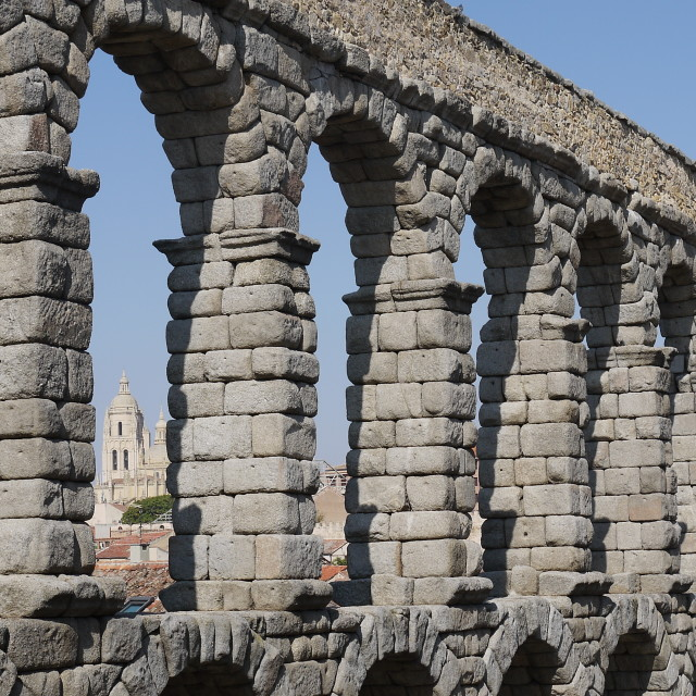 """Roman Aqueduct in Segovia, Spain"" stock image"