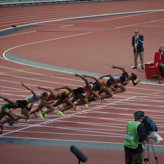 """Women's100m semi-final at 2012"" stock image"