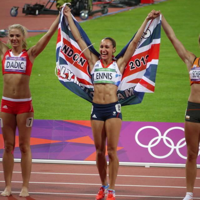 """Jessica Ennis celebrates Heptathlon Gold"" stock image"