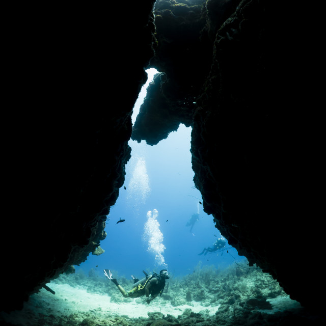 """Scuba divers outside a cave off Utila, Honduras"" stock image"