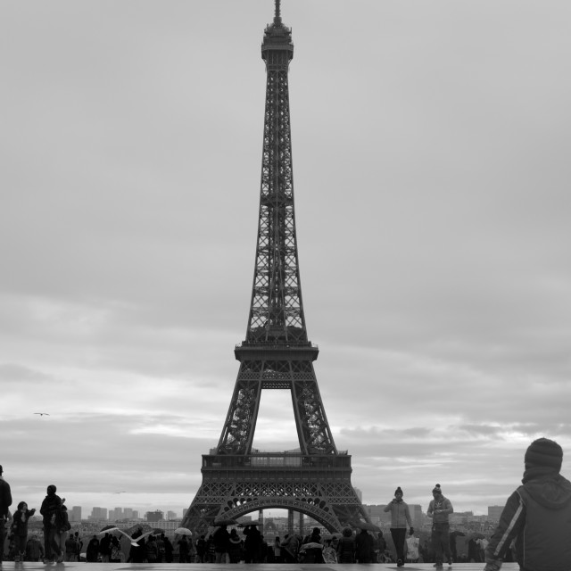 """In awe of the Eiffel"" stock image"