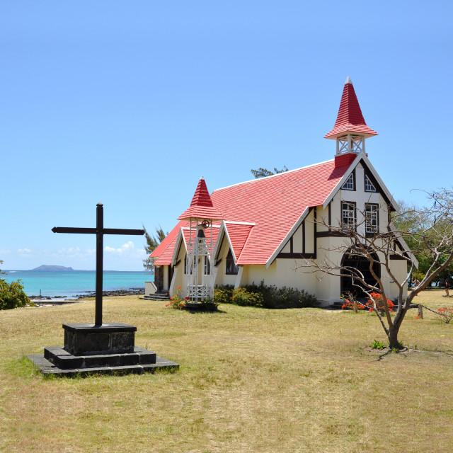 """""""Notre Dame Auxiliatrice, Cap Malheureux, Mauritius"""" stock image"""