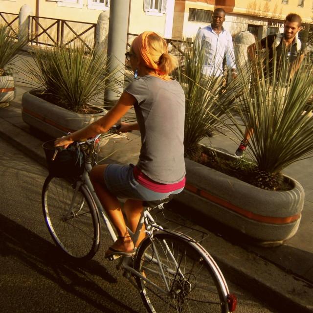 """Beauty on Bicycle"" stock image"