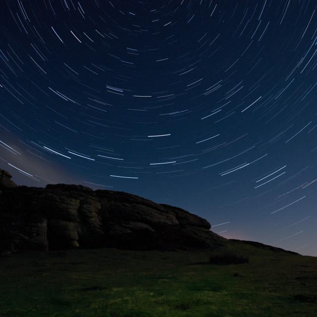 """Dartmoor Star Trails"" stock image"