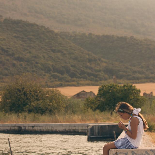 """""""Girl at the lake"""" stock image"""