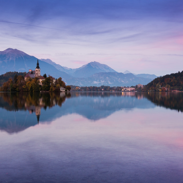 """Lake Bled Sunset"" stock image"