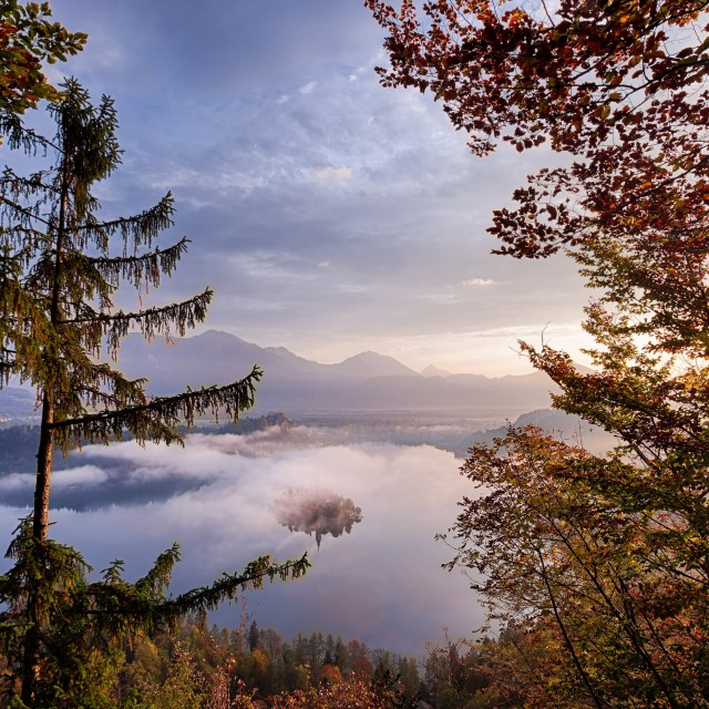 """Atop Lake Bled"" stock image"