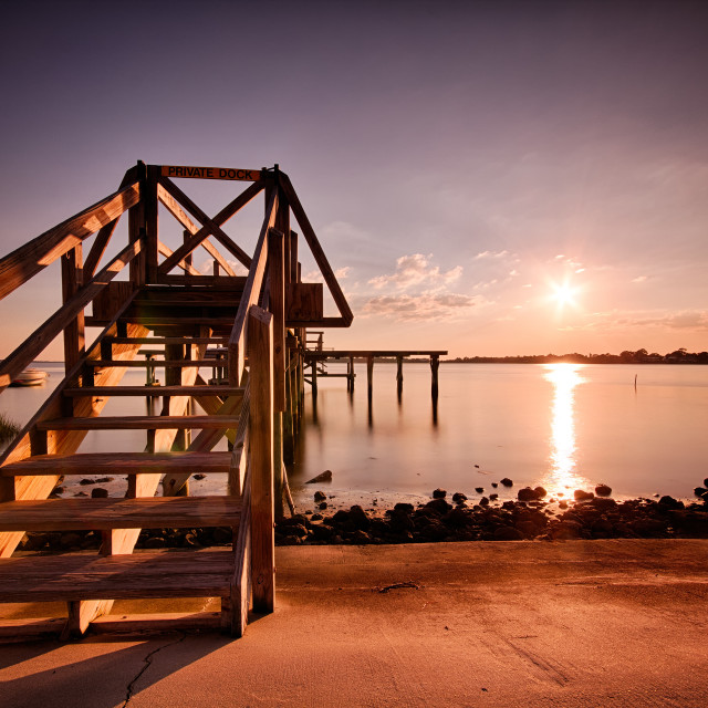 """Private Dock - Cedar Key, Florida"" stock image"