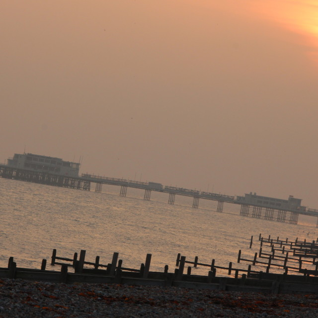 """Sunset over Worthing Pier"" stock image"