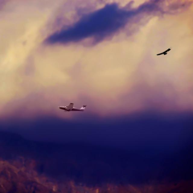 """""""Nubes con ave condor y avión"""" stock image"""