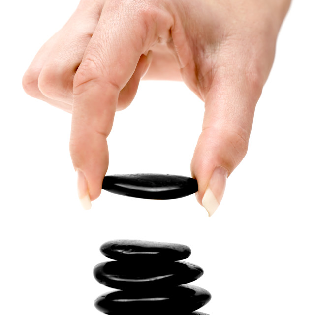 """Stacking Black Stones"" stock image"