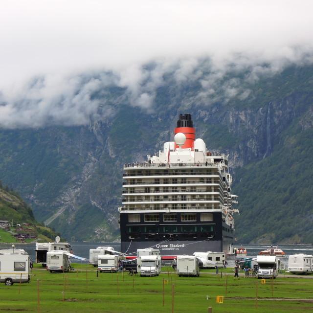 """Queen Elizabeth Liner Goes Camping"" stock image"