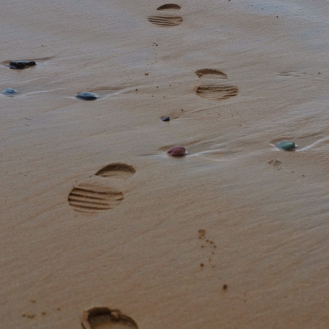 """Footprints in the Sand"" stock image"