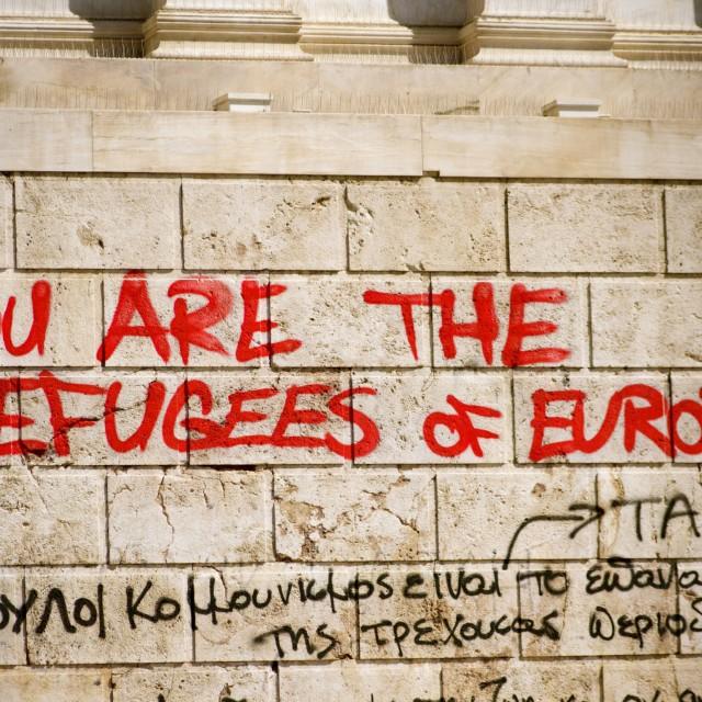 """Economic crisis graffiti, Athens, Greece"" stock image"