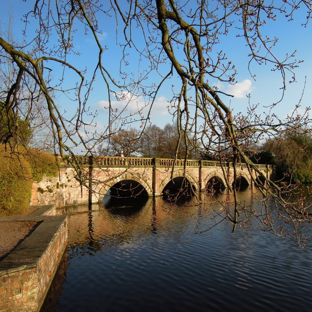 """The Bridge & Lake at Capesthorne Hall."" stock image"