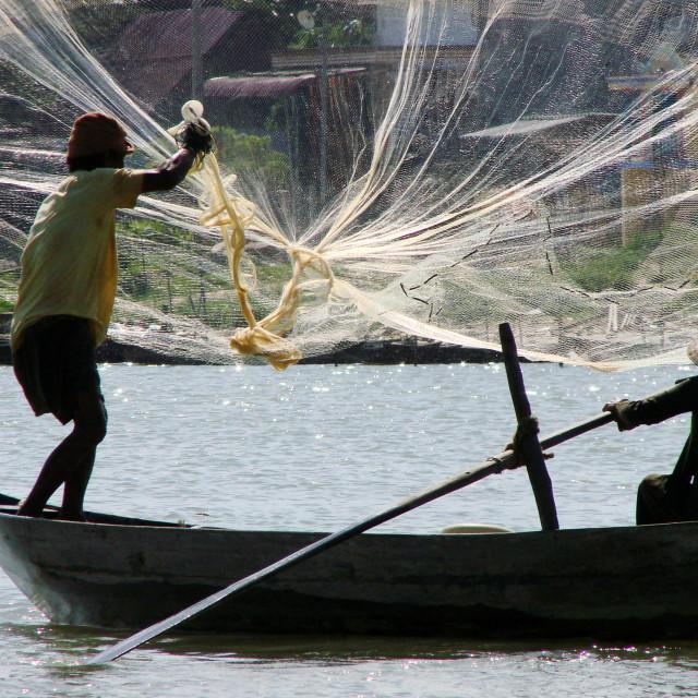 """Fishermen at Hoi An, Vietnam"" stock image"
