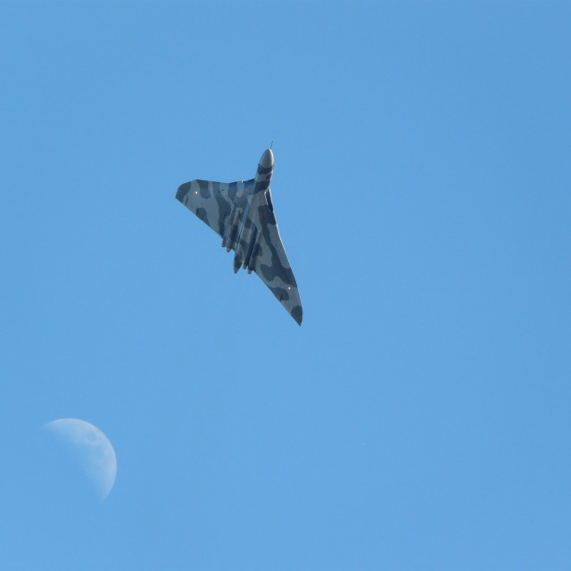 """""""Last Vulcan Flying, and Moon"""" stock image"""