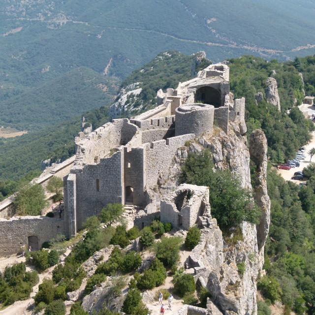 """Peyrepertuse Cathar Castle"" stock image"